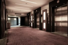 carpet cleaning demo in downtown toronto medical elevator area